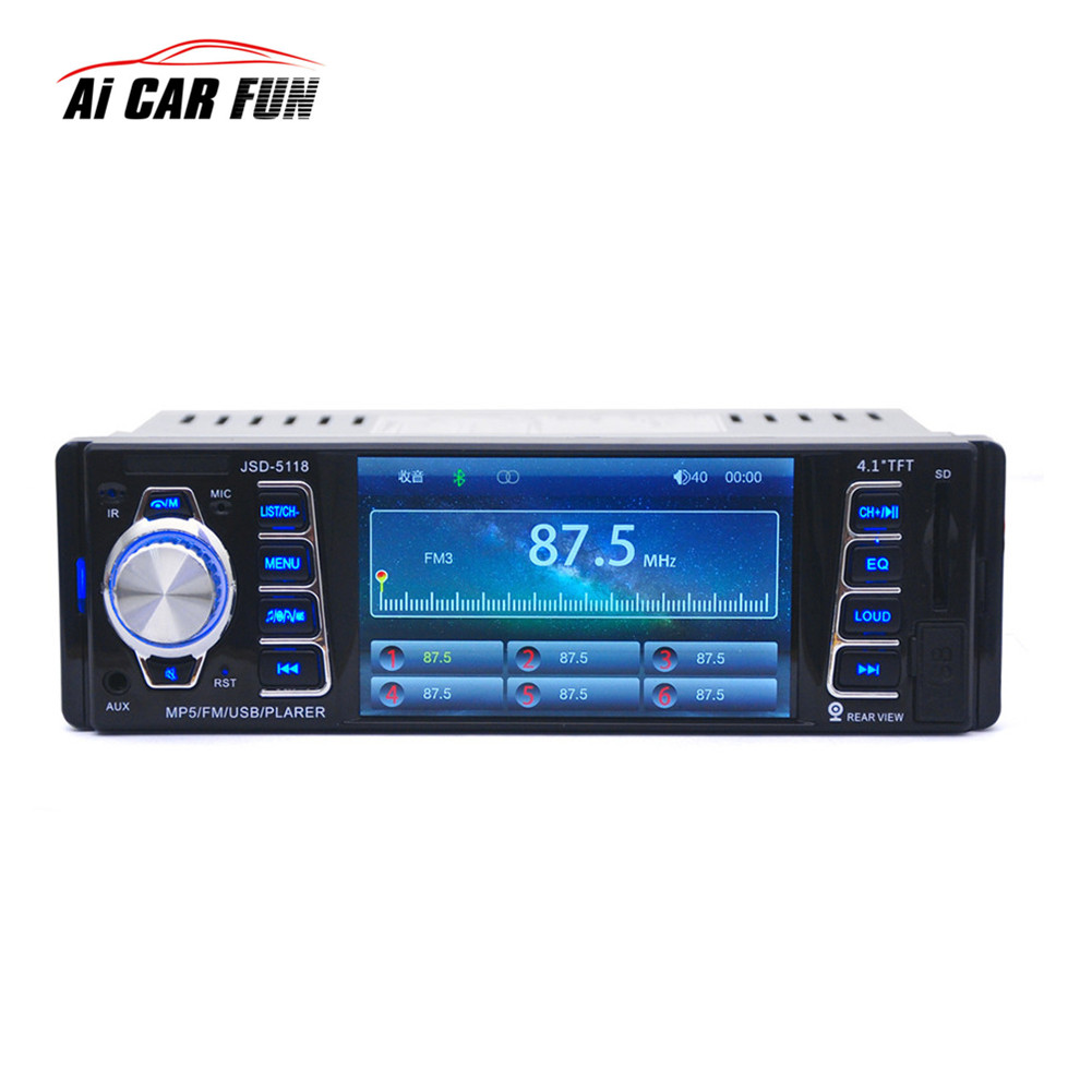 2017 4.1-inç MP5 Radyo Çalar HD Araba Bluetooth 1 DIN Araba In-Dash Stereo Ses FM Alıcı USB Ile USB/SD/AUX