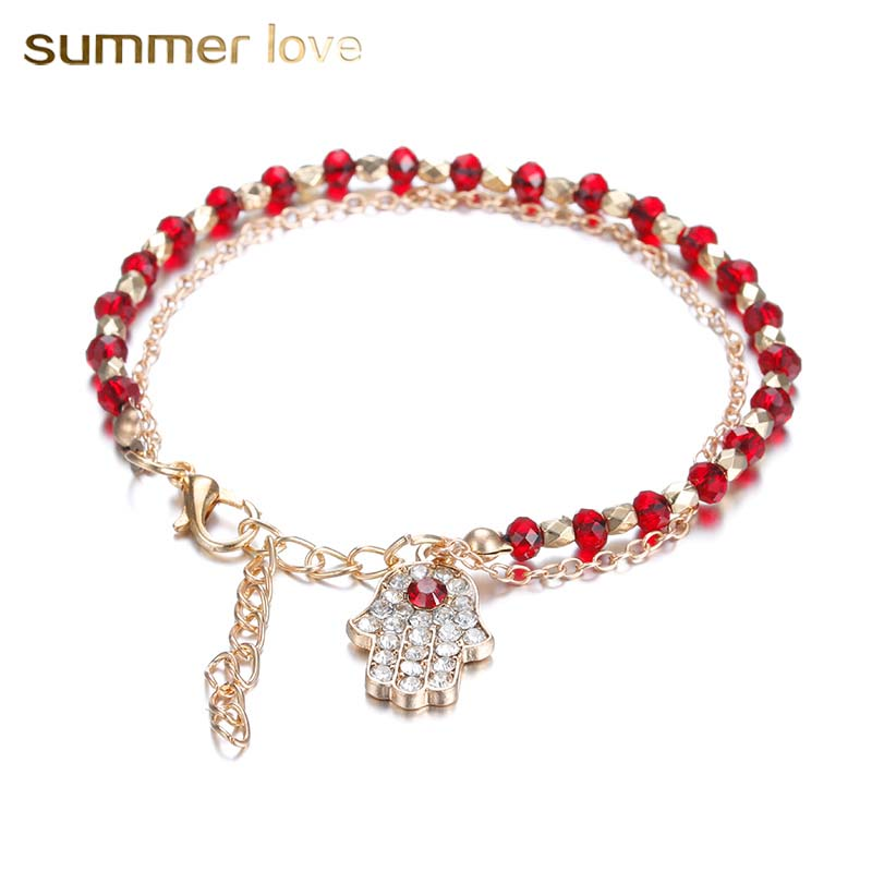 Fashion Red/Blue Crystal Double Chain Bracelets Female Crystal Turkish Lucky Blue Eye And Hamsa Hand Bracelet Jewelry For Women