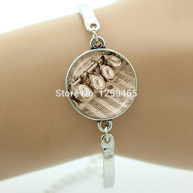 Art Picture Glass bracelet Violin dangle music note jewelry high note and flowers style The best gift to give best friends B641
