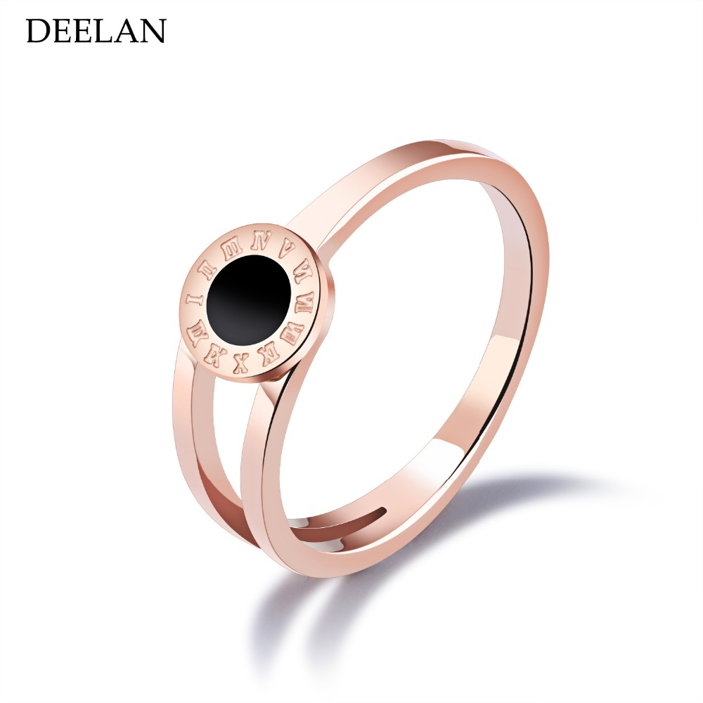 DEELAN Band Women&39;s Ring Rose Gold Color Roman Numeral Shells Rings Stainless Steel Luxury Jewelry Female Party Accessories Top