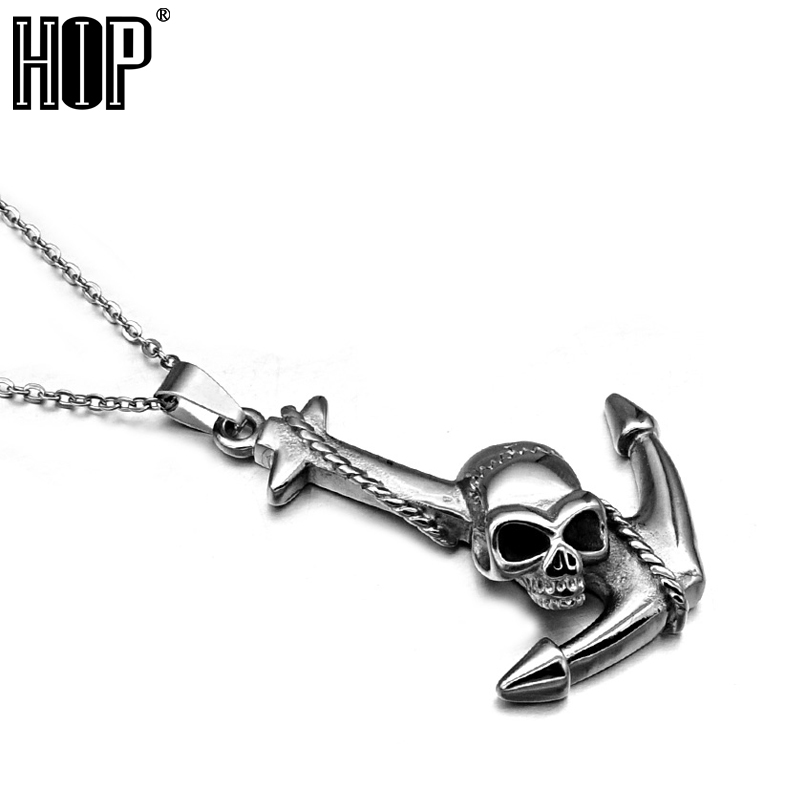 HIP Punk Casting Titanium Stainless Steel Sailor Anchor Skull Pendant Necklaces for Men Jewelry