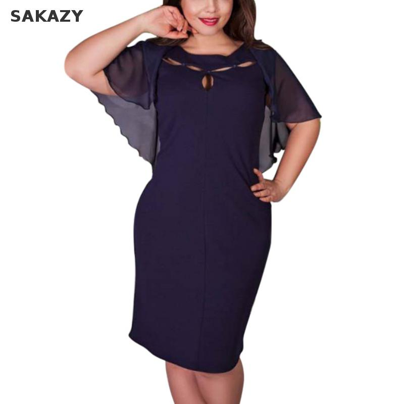 Sakazy l-6xl hollow out seksi dress jacobs kısa kollu moda kadın Artı Boyutu Bodycon Yağ Mm Zarif Büyük Boy Parti dress