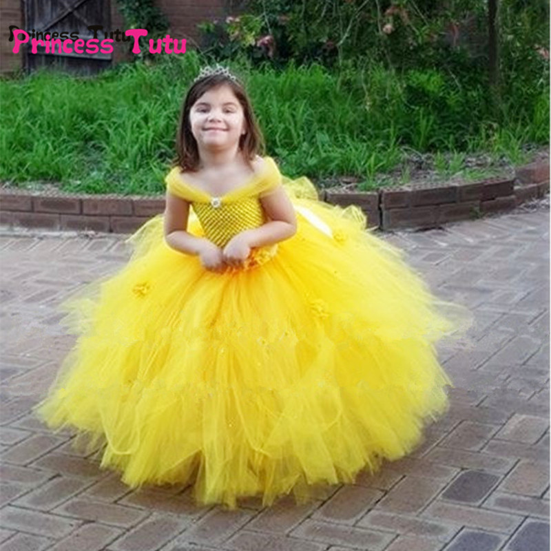 Belle Princess Tutu Dress Baby Kids Party Christmas Halloween Costumes Beauty Beast Cosplay Dress Flower Girl Ball Gown Dresses