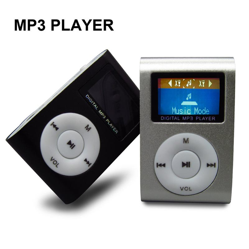 Metal Klip Mini MP3 Müzik Media Player USB Kablosu ile LCD Ekran Destek Micro SD TF Dijital Mp3 çalarlar (20 adet/grup)