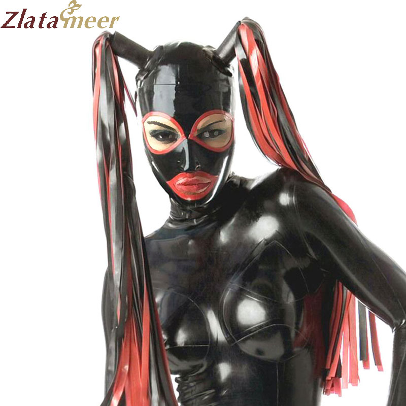 Sexy Latex Mask with Pigtails Rubber Fetish Zentai Hood Plus Size Open Mouth and Eyes with Hairpiece LM123