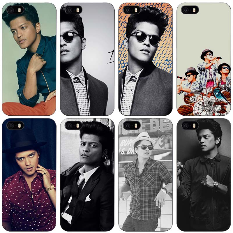 Bruno mars siyah plastik case kapak shell için iphone apple 4 4 s 5 5 s se 5c 6 6 s 7 artı