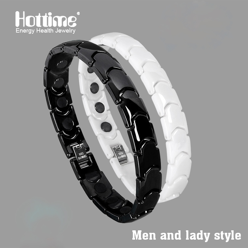 Hottime Black White Bio Elements Energy Ceramic Bracelet Bangle Lovers Magnetic Germanium Health Chain Charms Women Men Jewelry