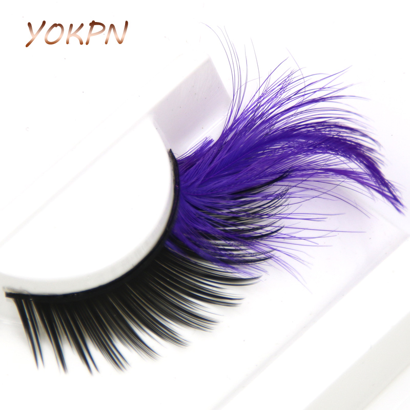 YOKPN Purple Crisscross Black False Eyelashes Exaggerated Dance Show Makeup Fake Eyelashes Thick Feathers Winged Eye lashes