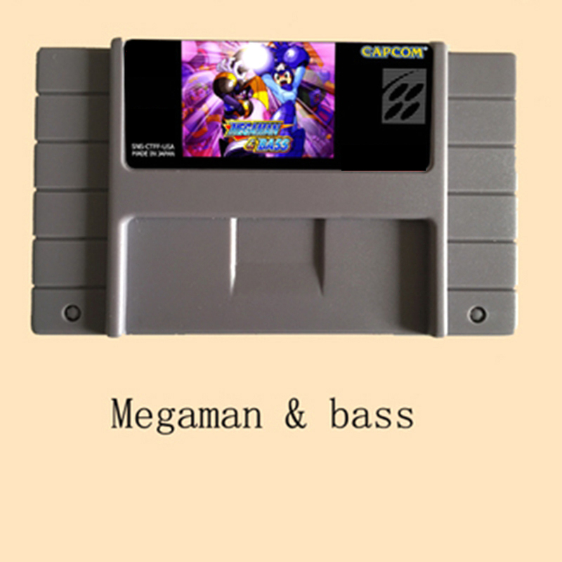 Megaman & Bass 16 bit Big Gray Game Card For NTSC Game Player Drop Shipping